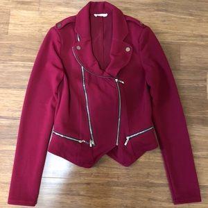Reddish Burgundy blazer style Jacket.